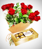 Flores : Argentina - Perfect Match Combo: 12 Roses Bouquet + Chocolates